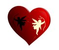Cupid fighting evil and good on a red heart Stock Image