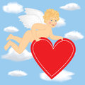 Cupid fly in the sky Royalty Free Stock Images
