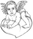 Cupid heart picture of a small sitting on the drawing on paper Stock Image