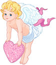 Cupid Holding a Heart Royalty Free Stock Photo
