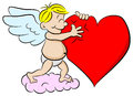 Cupid hugging a heart vector illustration of Stock Photography