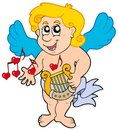 Cupid playing harp Stock Image