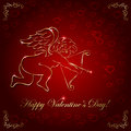 Cupid on red background valentines with golden illustration Royalty Free Stock Photos