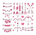 Cupid`s bow and arrow set. Hand-drawn vector illustration Royalty Free Stock Photo