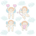 Cupid set funny cartoon cupids vector illustration Stock Photography