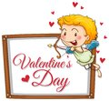 Cupid with shooting arrow on valentine card Royalty Free Stock Photo
