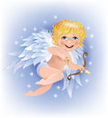 Cupid shoots gold arrow Stock Photos