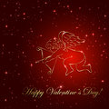 Cupid on star background red valentines with golden and stars illustration Royalty Free Stock Images