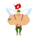Cupid Troopers. Winged Landing. Military Angel Royalty Free Stock Photo