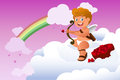 Cupid valentine background a vector illustration of Royalty Free Stock Image