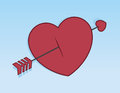 Cupids arrow through heart piercing Royalty Free Stock Images