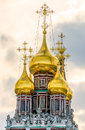 Cupolas of the church of christ s resurrection kadashi view in sloboda moscow Stock Photos