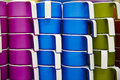 Cups array stack of colorful with holders Stock Images