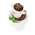 Cups of coffee beans Royalty Free Stock Photography