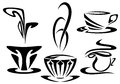 Cups design art nouveau style set black and white outline collection Royalty Free Stock Photography
