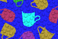 Cups different color shapes on blue background 3D illustration