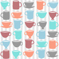 Cups seamless pattern illustration of multicolored with striped background Royalty Free Stock Photos