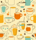Cups seamless pattern with in retro style Royalty Free Stock Images