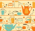 Cups seamless pattern with teapot and in retro style Stock Photos