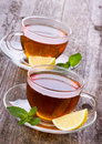 Cups of tea with mint and lemon Stock Image