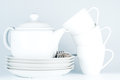 Cups and teapot white tea with on white Royalty Free Stock Photography