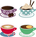 Cups vector drawing four with drinks coffee tea latte and coffee with cream Royalty Free Stock Photo