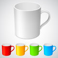 Cups white cup and its color variations Royalty Free Stock Image