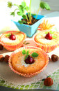 Curd cupcakes with gooseberries Royalty Free Stock Photo