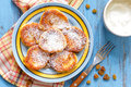 Curd pancakes with raisin on a plate Royalty Free Stock Photos