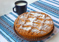 Curd pie and cup with milk homemade Royalty Free Stock Photo