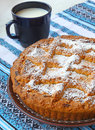 Curd pie and cup with milk homemade Stock Photo
