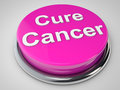 Cure cancer button over white background Royalty Free Stock Photography