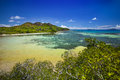 Curieuse island seychelles lookout over the turtle pond Royalty Free Stock Photography
