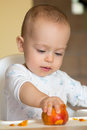 Curious baby boy examines a peach Stock Photography