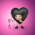 Curious Valentine heart cartoon holding handcuffs Stock Photo