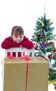 Curious about Xmas present Stock Image