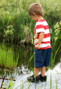 Curiousity at the culvert a happy two year old boy sparks a nearby while searching for tadpoles frogs and fish Royalty Free Stock Image