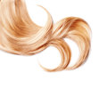 Curl of healthy blond hair