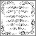 Curled calligraphic design frame corner elements. Vector set isolated on white.
