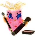 Curlers female gathered makeup brush to do with a for blush brushes and eye shadows for eyes Royalty Free Stock Photography
