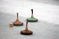 Curling on an frozen canal in munich germany Royalty Free Stock Image