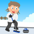 Curling Girl in the Park Royalty Free Stock Photo