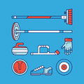 Curling sport main icons and symbols.