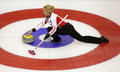 Curling women denmark svensen house rock christine of slides through the rings on her stone delivery at the ford world s Royalty Free Stock Photos