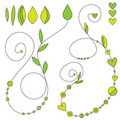 Curls with leaf, heart and dot decoration Royalty Free Stock Photos