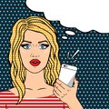 Curly blonde woman on phone pop art comic style, thinking bubble for your text Royalty Free Stock Photo