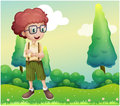 A curly boy standing at the hilltop illustration of Stock Image