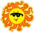 Curly cartoon Sun Stock Photography