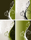 Curly floral backgrounds set Stock Image
