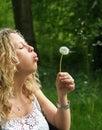Curly girl blows dandelion Stock Photos